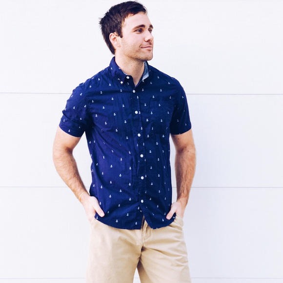 0741afa54509 Carbon Other - Navy Blue Anchor Short Sleeve Button Down